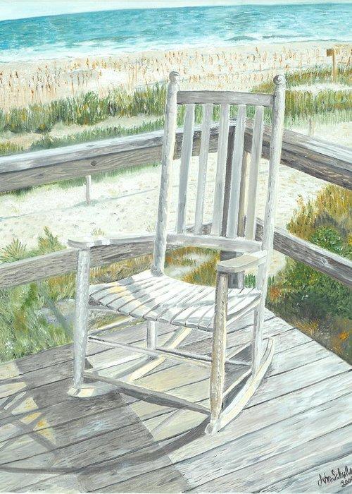 Beach Greeting Card featuring the painting Beach Rocker by John Schuller