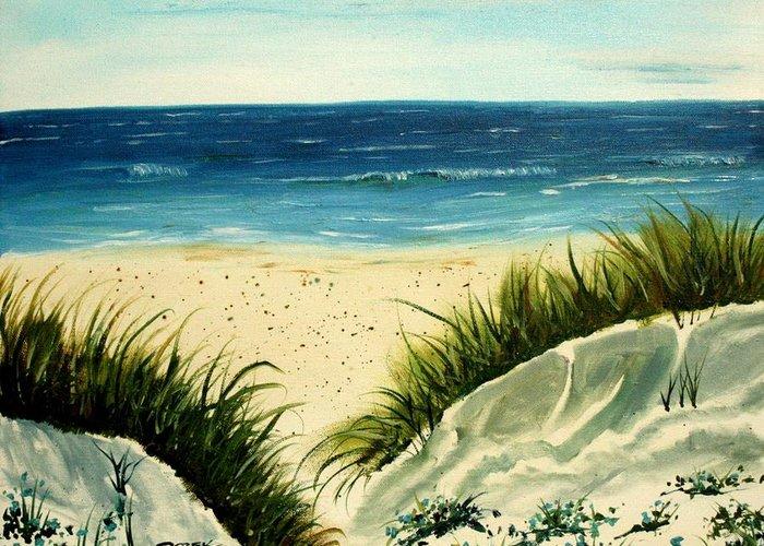 Beach Greeting Card featuring the painting Beach Sand Dunes Acrylic Painting by Derek Mccrea
