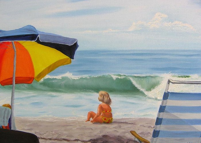 Seascape Greeting Card featuring the painting Beach Scene - Childhood by Lea Novak