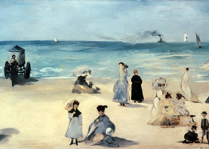 Beach Greeting Card featuring the painting Beach Scene by Edouard Manet
