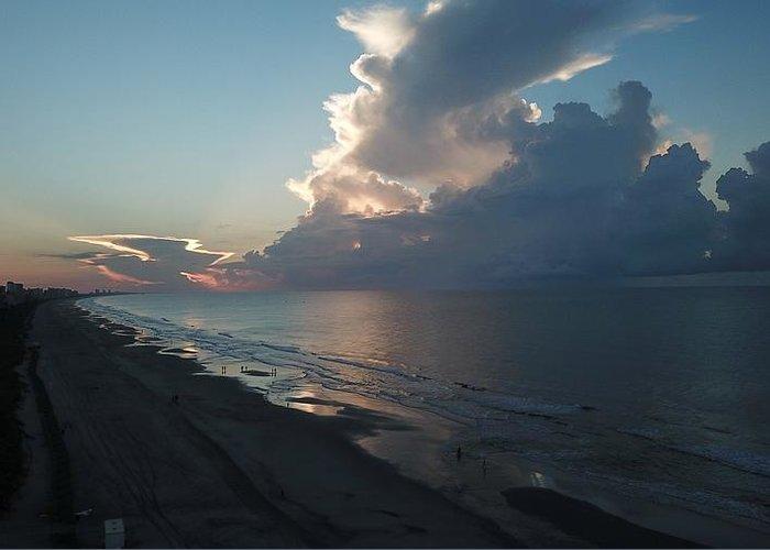 Beach Sunrise Silver Lining Clouds Digital Drone Greeting Card featuring the digital art Beach Silver Lining by James Mcpherson