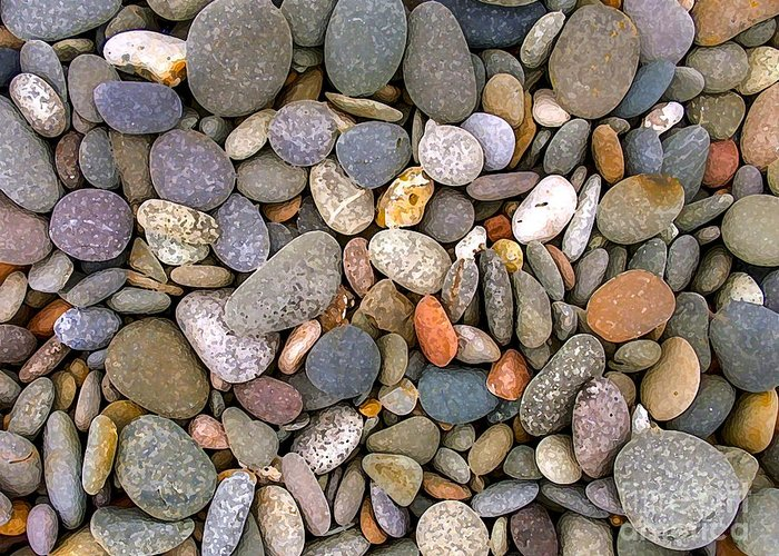 Digital Painting Greeting Card featuring the photograph Beach Stones And Pebbles by Sophie De Roumanie