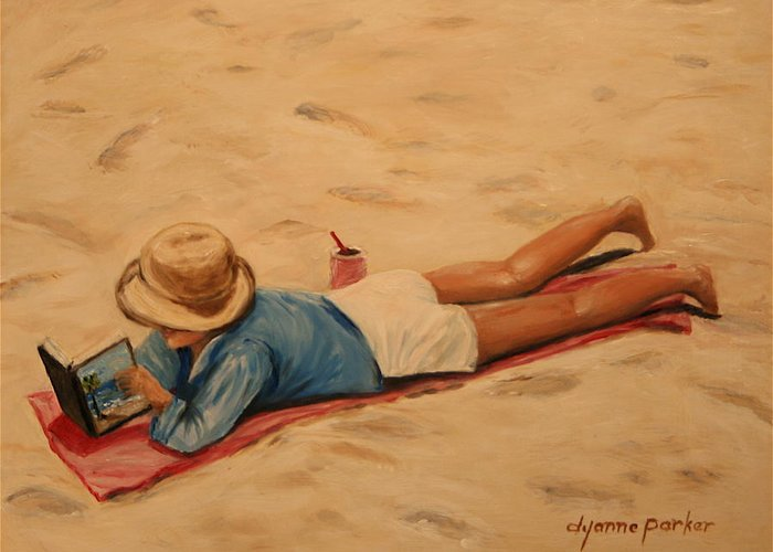 Beach Greeting Card featuring the painting Beach Study by Dyanne Parker