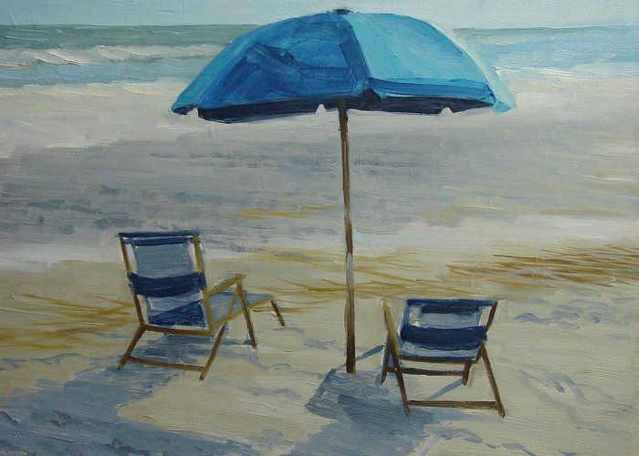 Beach Greeting Card featuring the painting Beach Umbrella - Hilton Head by Robert Rohrich