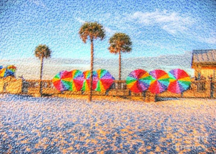 Beach Greeting Card featuring the photograph Beach Umbrella Lineup by Michael Garyet