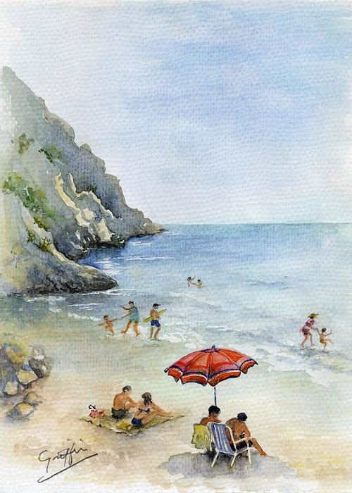 Spain Greeting Card featuring the painting Beach Umbrella by Mai Griffin