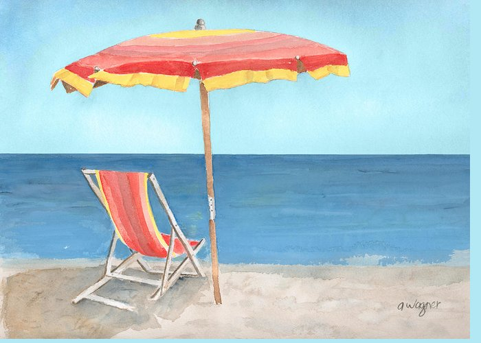 Umbrella Greeting Card featuring the painting Beach Umbrella Of Stripes by Arline Wagner