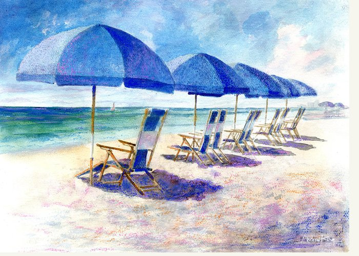 Beach Greeting Card featuring the painting Beach Umbrellas by Andrew King