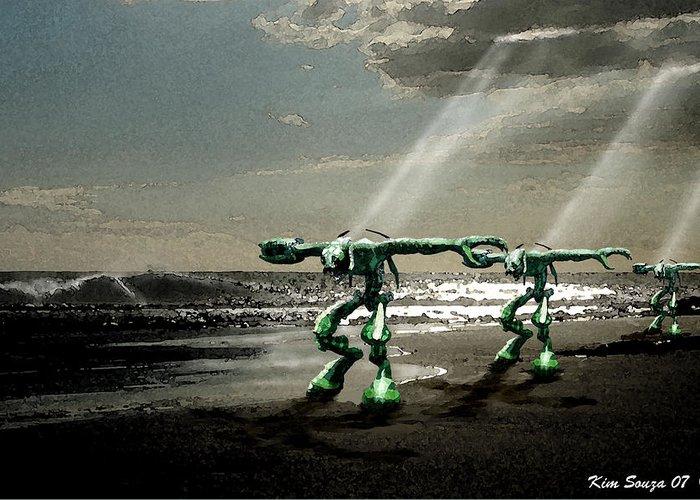 Beach Greeting Card featuring the digital art Beach Visitors by Kim Souza