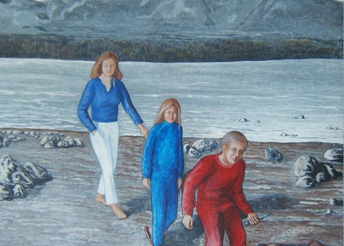 Beach Greeting Card featuring the painting Beach Walk by Georgette Backs