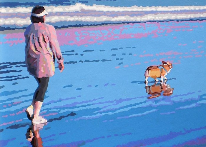 Landscape Greeting Card featuring the painting Beach Walk V.4 by Max Yamada