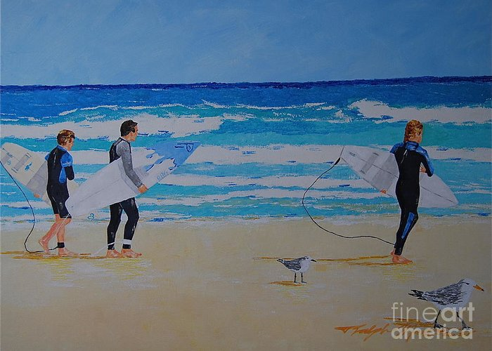 Beach Scene Greeting Card featuring the painting Beach Walkers by Art Mantia