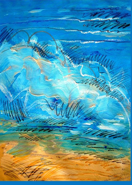 Ocean Greeting Card featuring the painting Beach Wave IIi by Dodd Holsapple