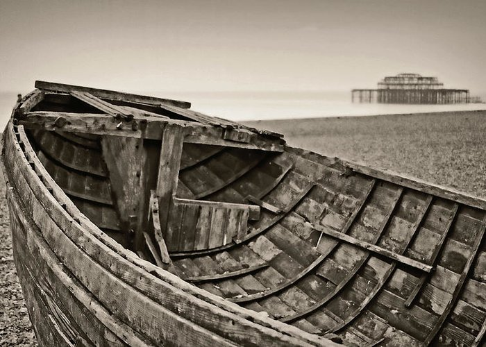 Britain Greeting Card featuring the photograph Beached At Brighton In Sepia by Tony Grider