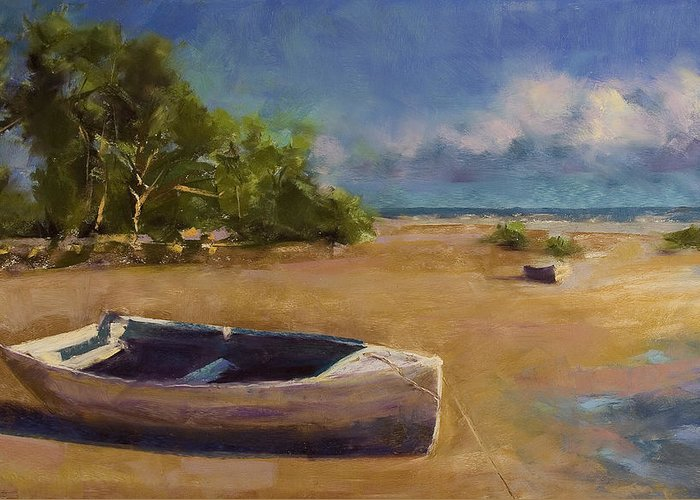 Landscape Greeting Card featuring the painting Beached by David Patterson