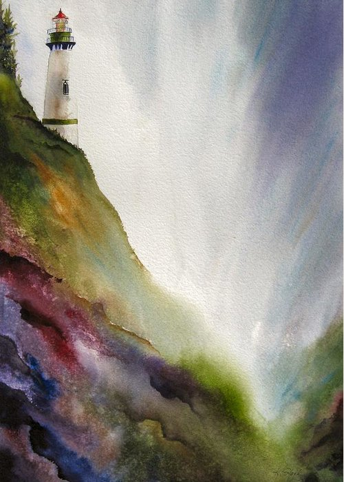 Lighthouse Greeting Card featuring the painting Beacon by Karen Stark