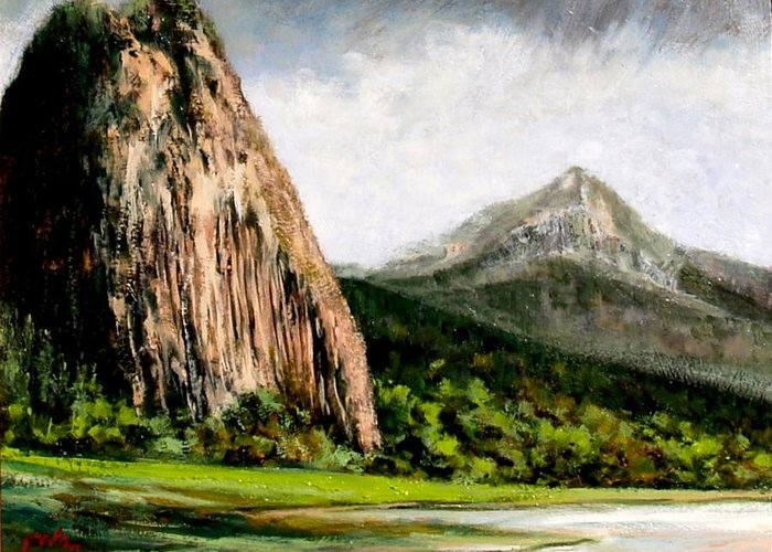 Landscape Greeting Card featuring the painting Beacon Rock Washington by Jim Gola