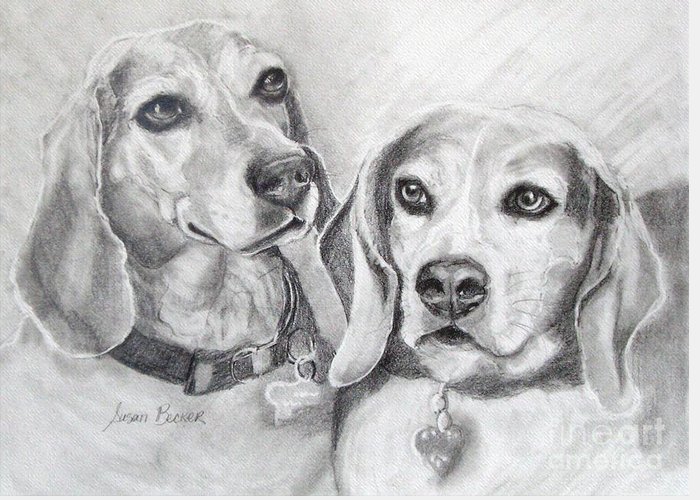 Dogs Greeting Card featuring the painting Beagle Boys by Susan A Becker