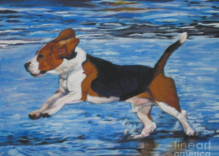 Beagle Greeting Card featuring the painting Beagle by Lee Ann Shepard