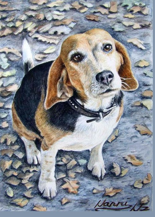 Dog Greeting Card featuring the painting Beagle Nanni by Nicole Zeug