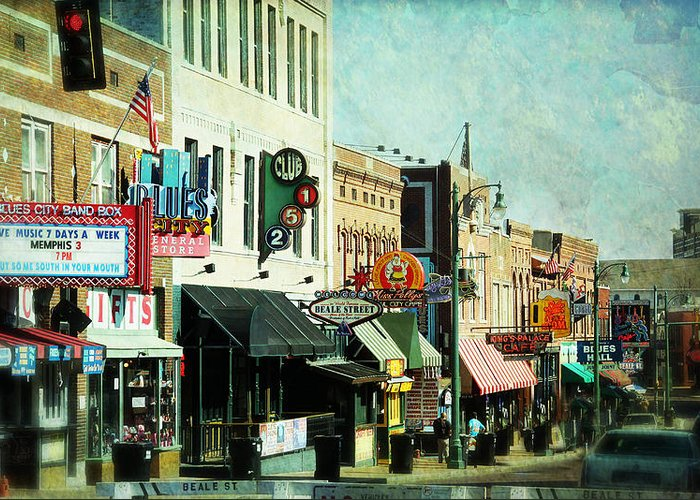 Beale Greeting Card featuring the photograph Beale Street Blues by Suzanne Barber