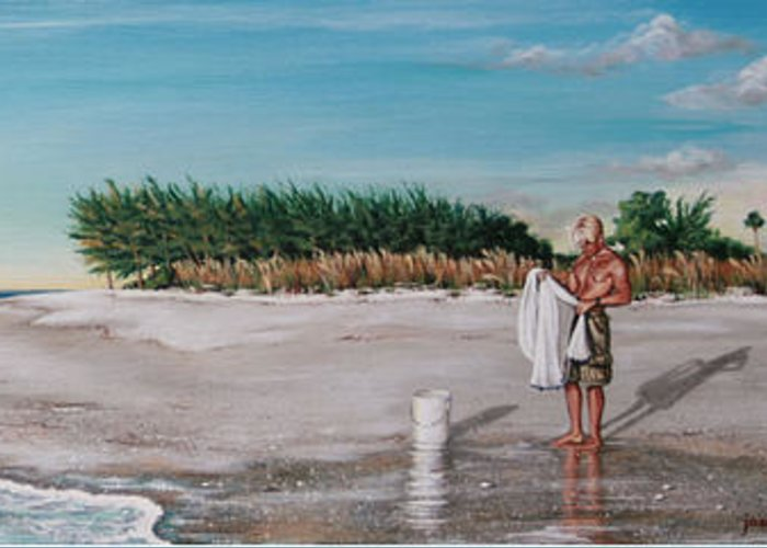 Beach Greeting Card featuring the painting Bean Point by Joan Garcia