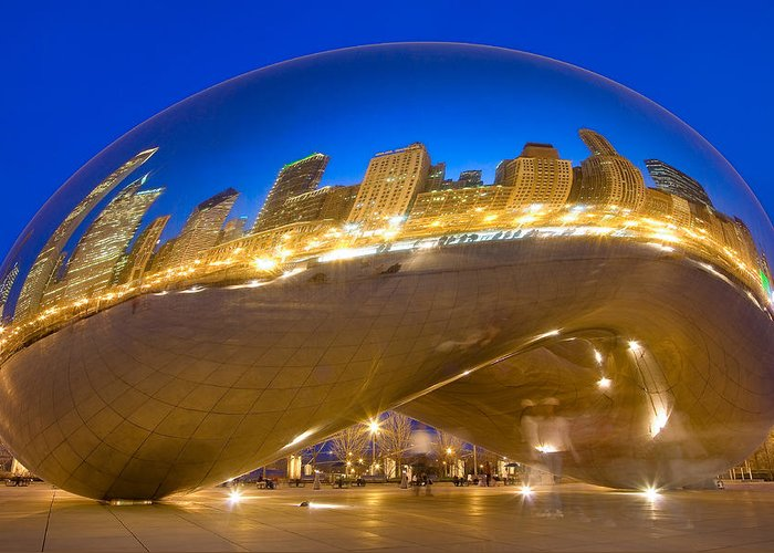 Chicago Greeting Card featuring the photograph Bean Reflections by Donald Schwartz