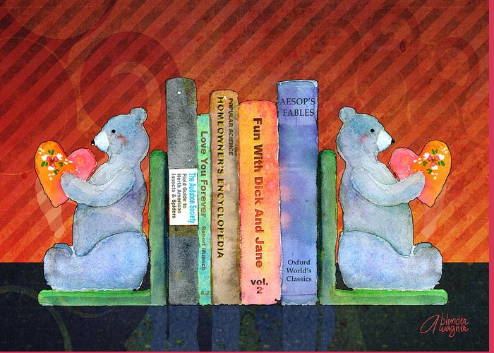 Bear Greeting Card featuring the mixed media Bear Bookends by Arline Wagner