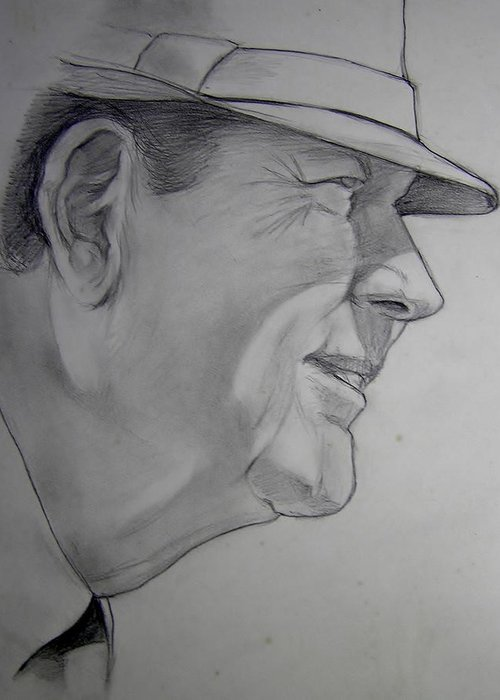 Football Greeting Card featuring the drawing Bear Bryant by Nigel Wynter