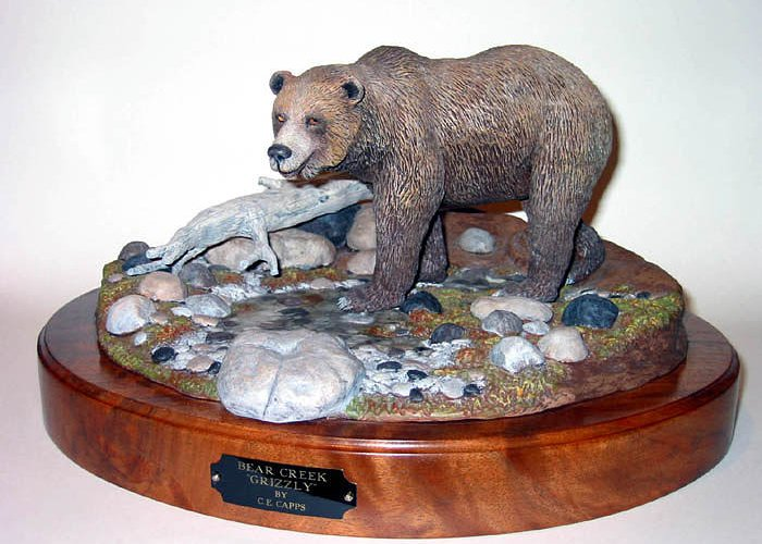 Grizzly Bear Greeting Card featuring the sculpture Bear Creek Grizzly by Carl Capps