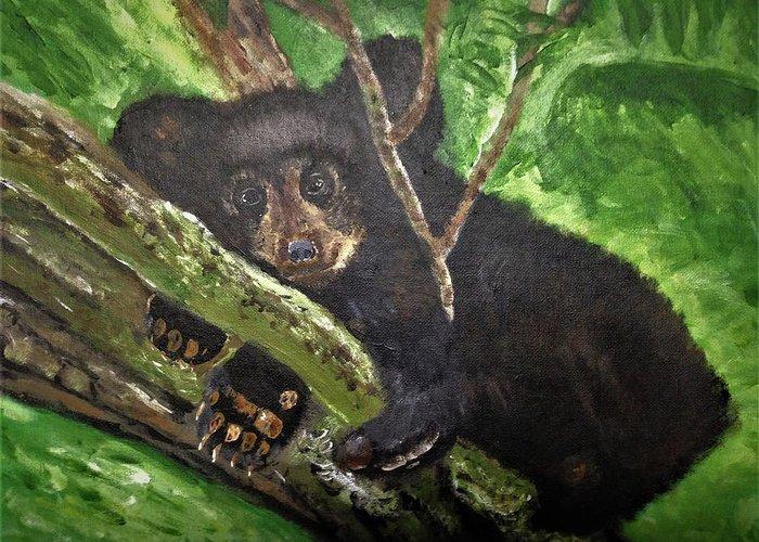 Bear Cub Tree Greeting Card featuring the painting Bear Cub by Dennis Wilson