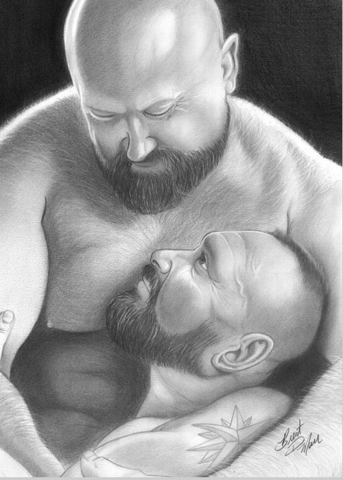 Men Greeting Card featuring the drawing Bear Love 4 by Brent Marr
