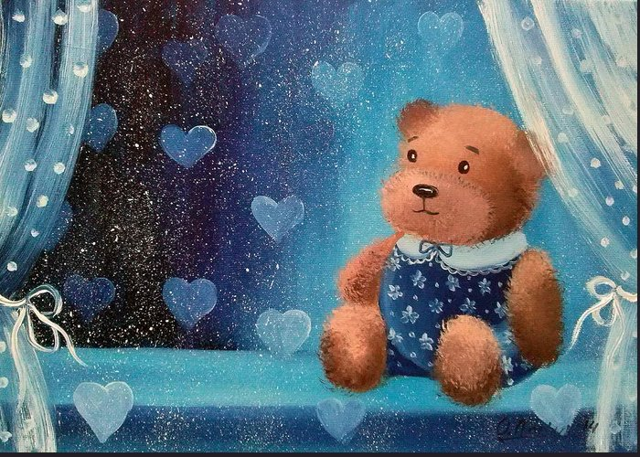 Bear Greeting Card featuring the painting Bear by Olha Darchuk