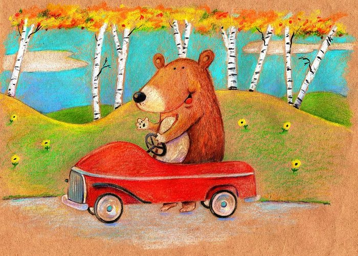 Bear Greeting Card featuring the drawing Bear Out For A Drive by Scott Nelson