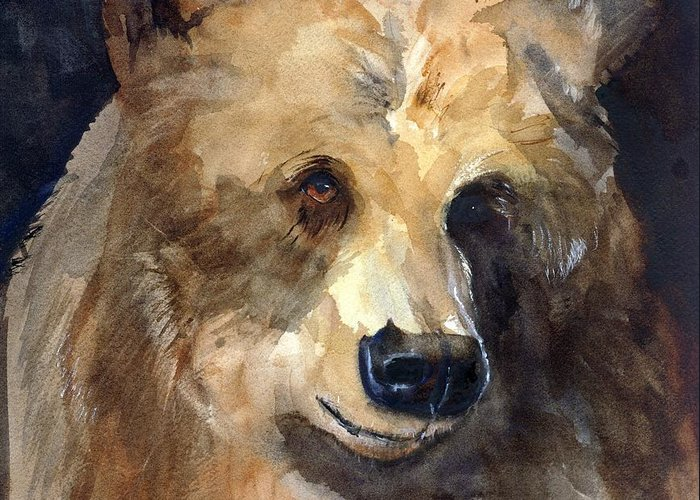 Bear Greeting Card featuring the painting Bear by Rhonda Hancock