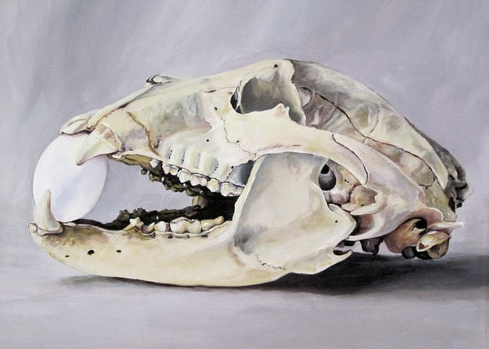 Skull Greeting Card featuring the painting Bear Skull And Egg - Life Goes On by Lillian Bell