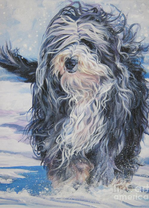 Bearded Collie Greeting Card featuring the painting Bearded Collie In Snow by Lee Ann Shepard