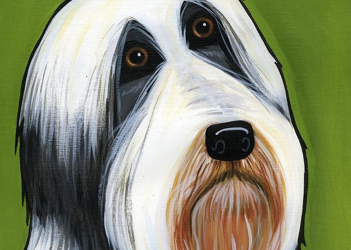 Bearded Collie Greeting Card featuring the painting Bearded Collie by Leanne Wilkes