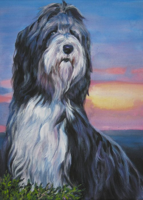 Bearded Collie Greeting Card featuring the painting Bearded Collie Sunset by Lee Ann Shepard