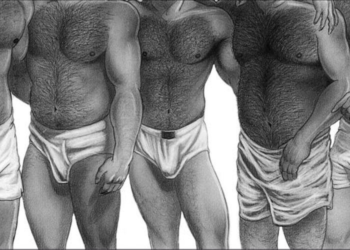 Men Greeting Card featuring the drawing Bears And Cubs Of Portland Front by Brent Marr