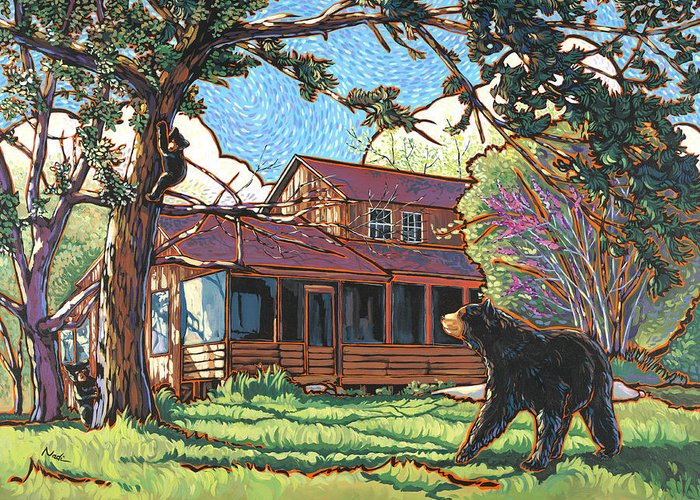 Bear Greeting Card featuring the painting Bears At Barton Cabin by Nadi Spencer