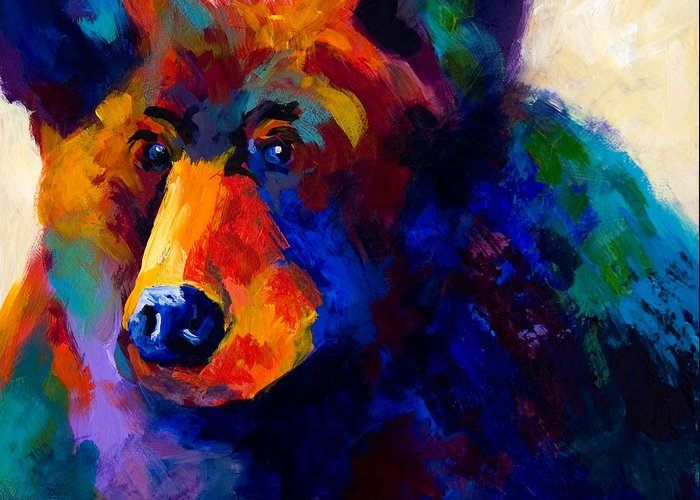 Bear Greeting Card featuring the painting Beary Nice - Black Bear by Marion Rose