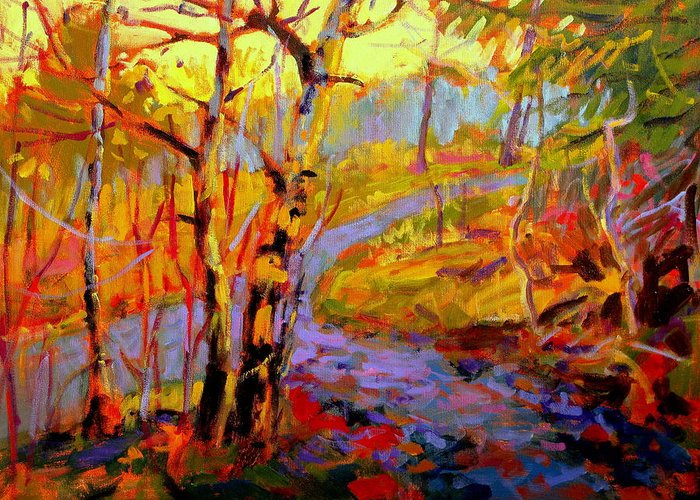 Fall Paintings Greeting Card featuring the painting Beaten Path by Brian Simons