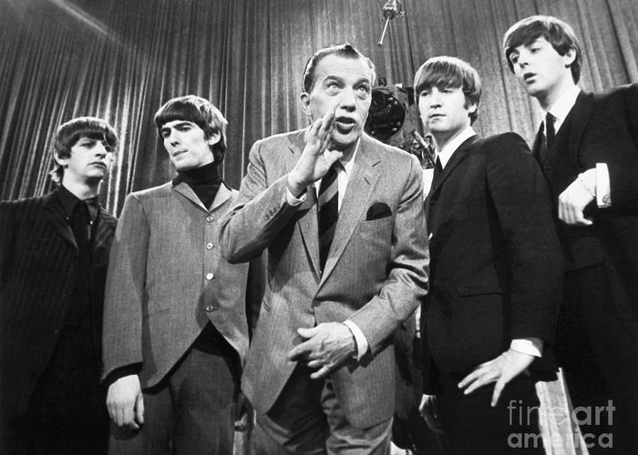 1964 Greeting Card featuring the photograph Beatles And Ed Sullivan by Granger