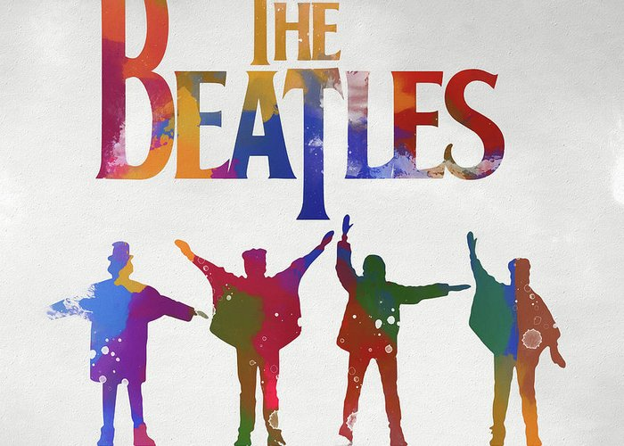 Beatles Watercolor Poster Greeting Card featuring the painting Beatles Watercolor Poster by Dan Sproul