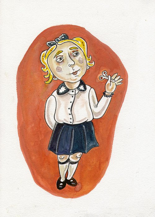 Karl Greeting Card featuring the painting Beatrice Yakovy Illustration by Karl Frey