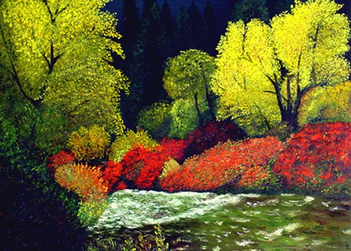 Landscape Greeting Card featuring the painting Beauatiful Oregon by JoeRay Kelley