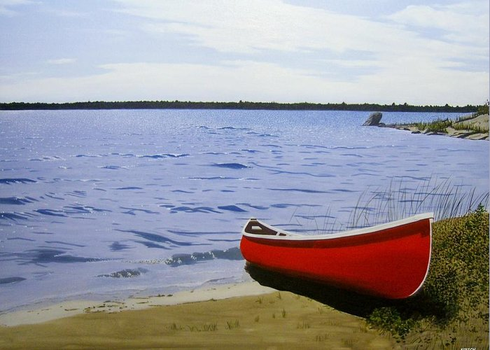 Landscpaes Greeting Card featuring the painting Beaultiful Red Canoe by Kenneth M Kirsch