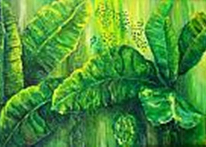 Greeting Card featuring the painting Beautiful Banana Leaves by Carol P Kingsley