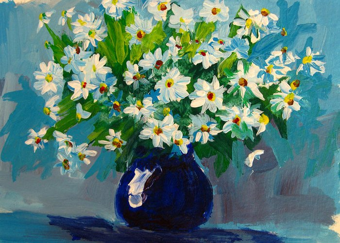 Daisies Greeting Card featuring the painting Beautiful Daisies by Patricia Awapara